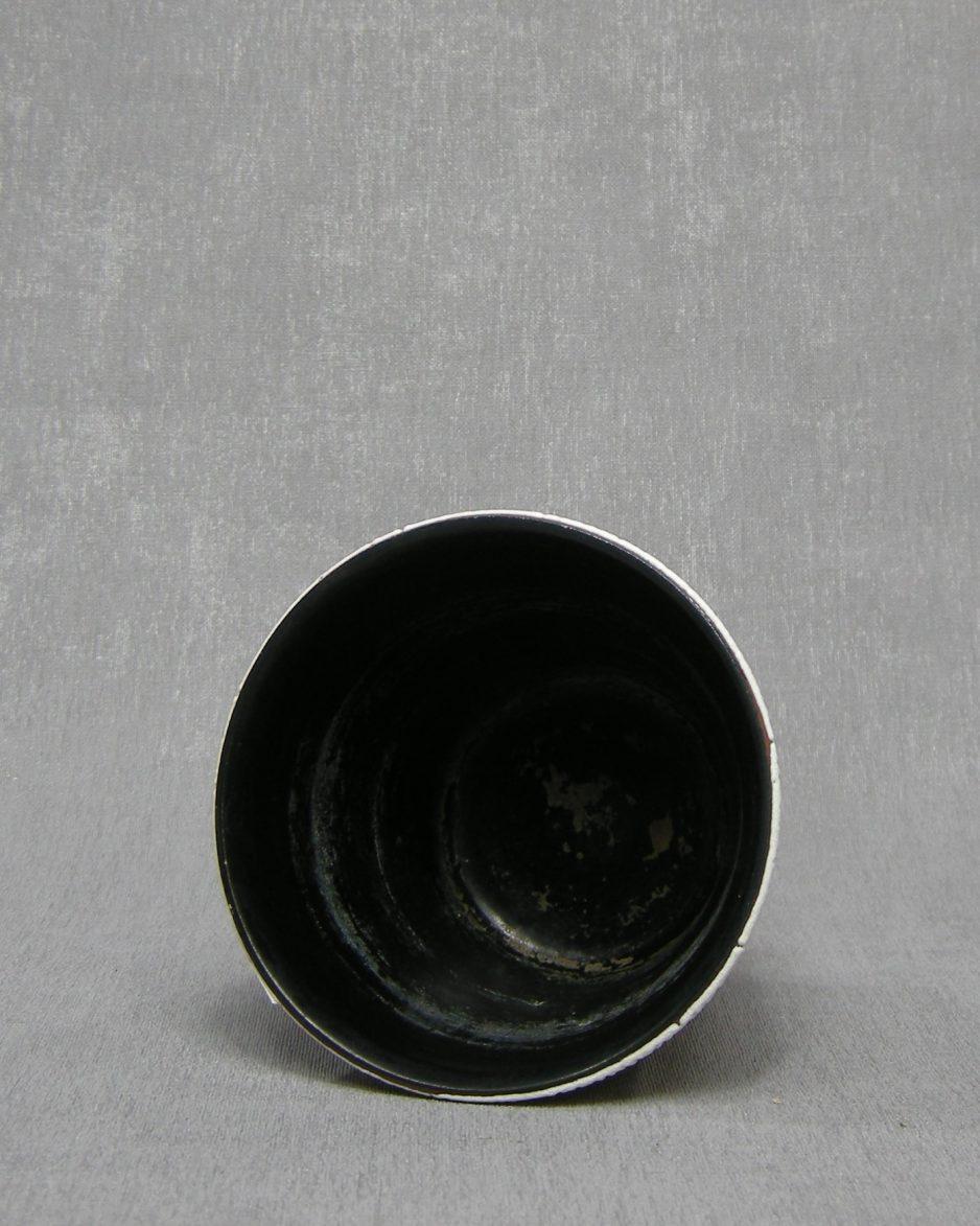 1339 - bloempot ADCO A met reliëf bruisglazuur wit - bruin