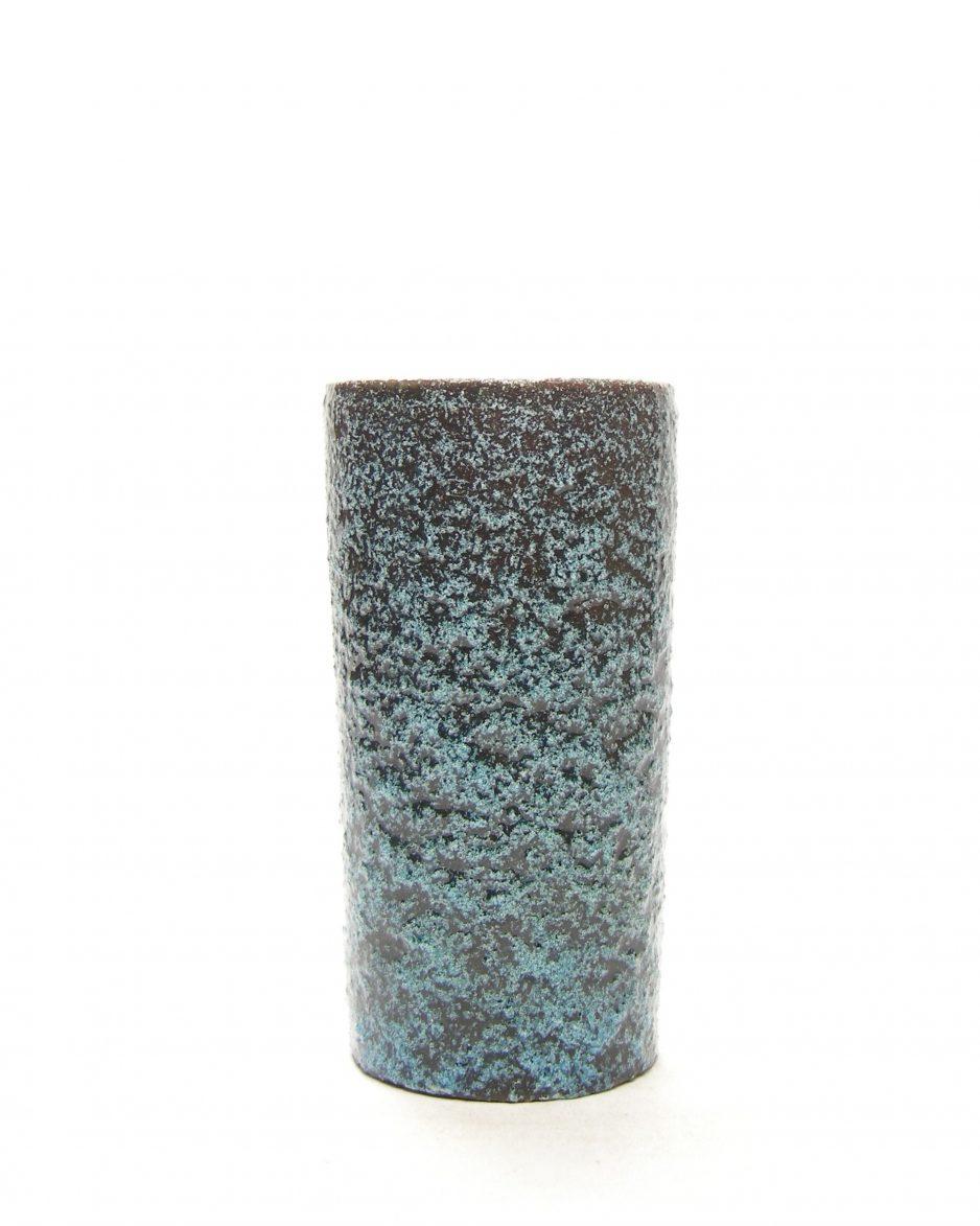 1332 - vaas Pieter Groeneveldt 104 14 bruisglazuur blauw - zwart