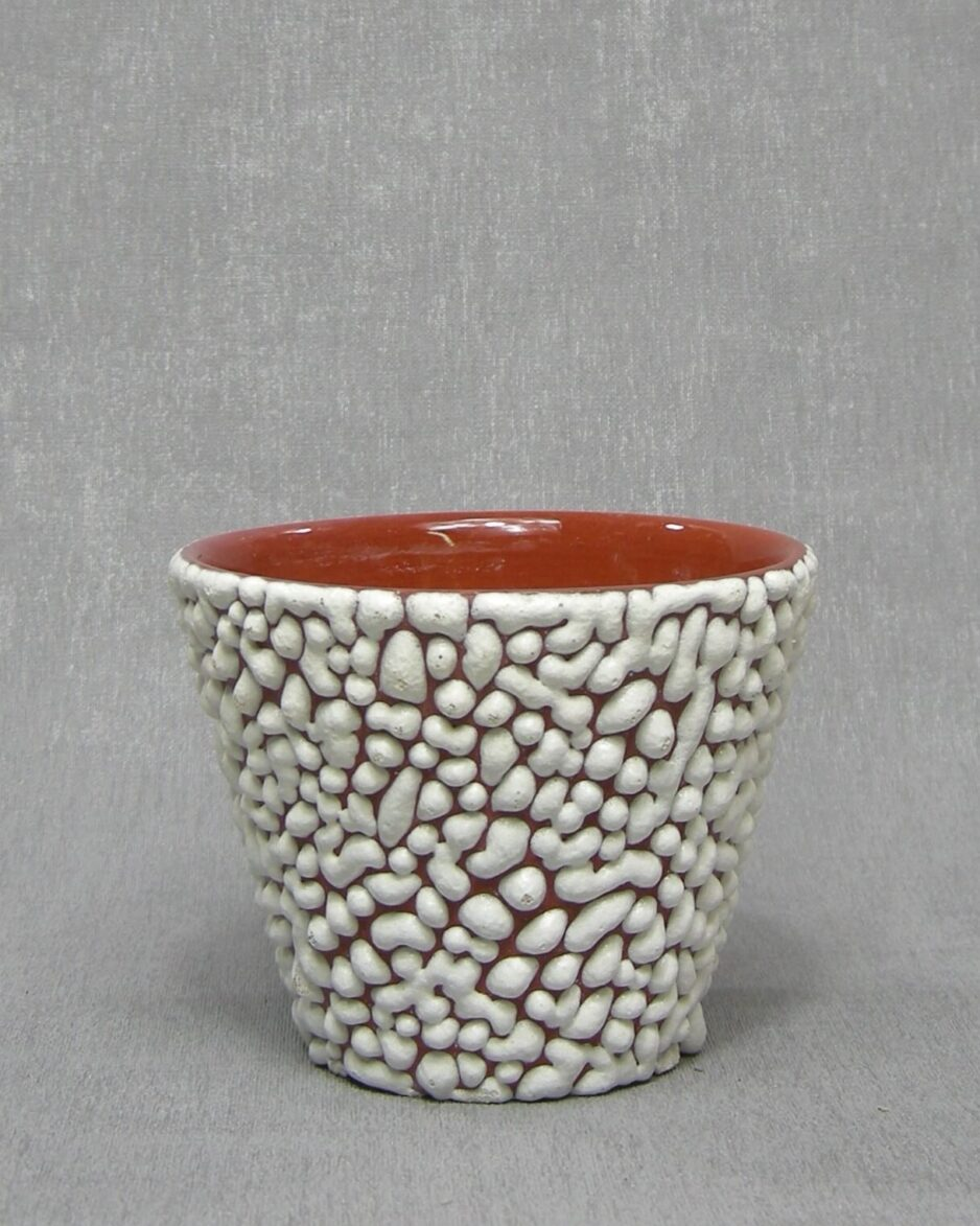 1344 - bloempot ADCO A bolletjes glazuur