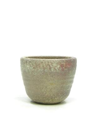 1387 – vintage bloempot Mobach bruin – rood – groen