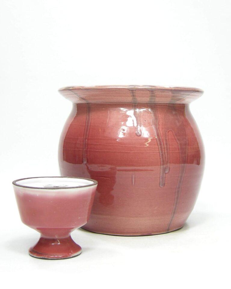1393 – bloempot op stokjes gebakken oud roze