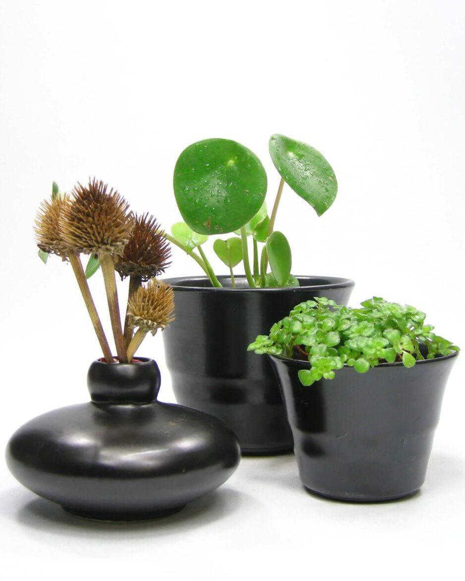 1395 - 1396 - 1397 - bloempotjes en vaasje mat zwart