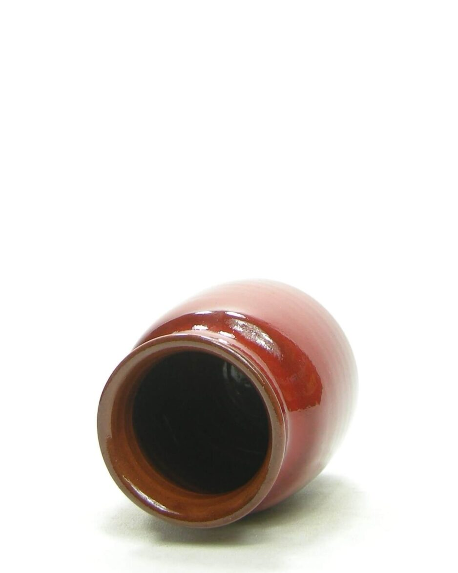1416 - bloempotje - vaasje rood met spikkels