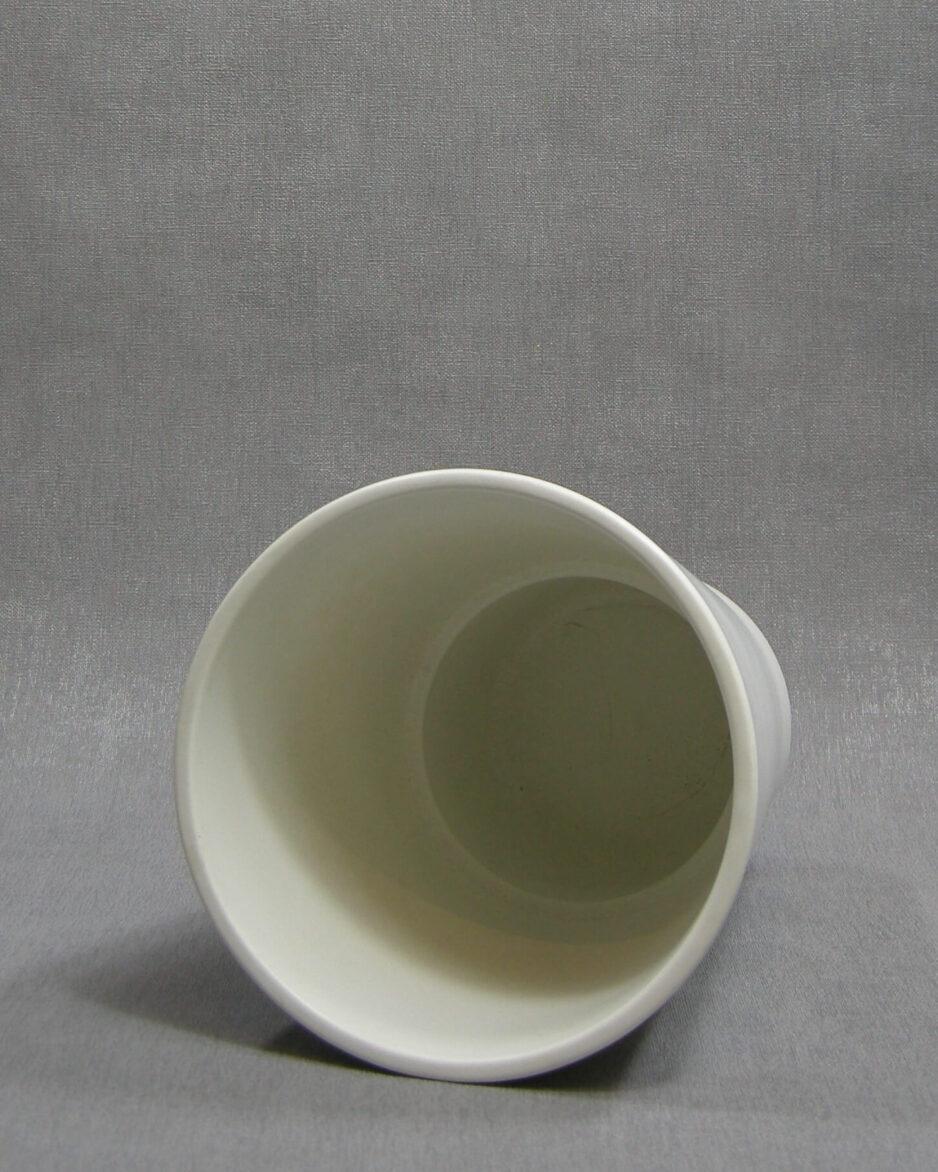 1418 - bloempot mat hoog model wit