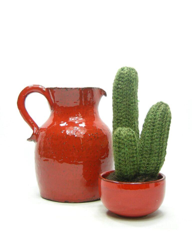 1433 – 1434 – vaas – pitcher grof aardewerk en bloempotje – schaaltje rood