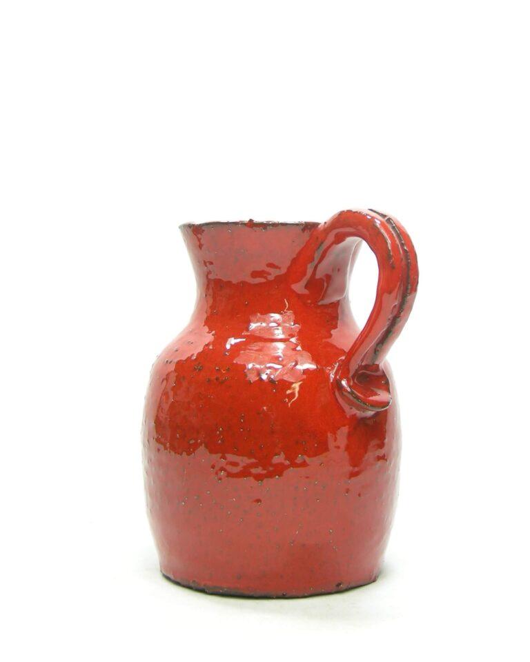 1433 – vaas – pitcher grof aardewerk rood
