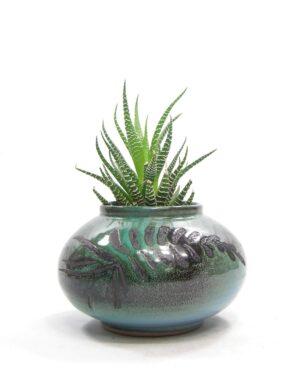 1489 - bloempot met afbeelding tak groen - zwart - blauw