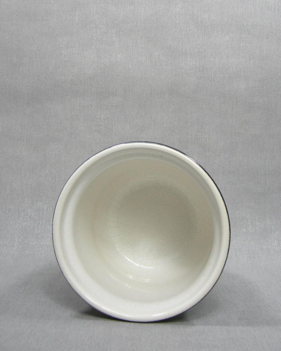 1511 - bloempot met gekleurde rand grijs - zwart - wit
