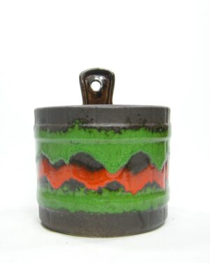 1533 - Vintage wand bloempot Ü-keramik 210-14 fat lava zwart-groen-oranje