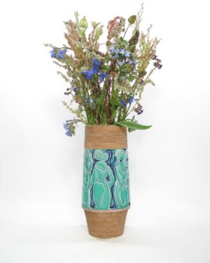 1534 - vintage vaas Fratelli Fanciullacci 8614 Italy People Decor groen - blauw - bruin