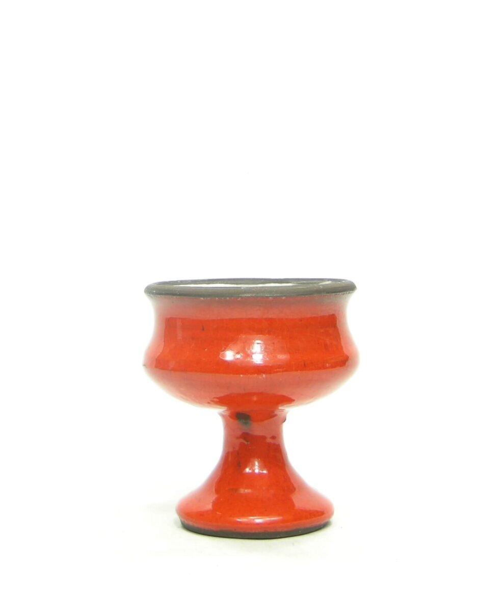 1542 - vintage bloempotje op voet oranje