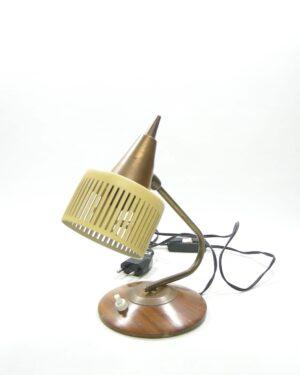 1548 - vintage lamp koper en hout - bruin