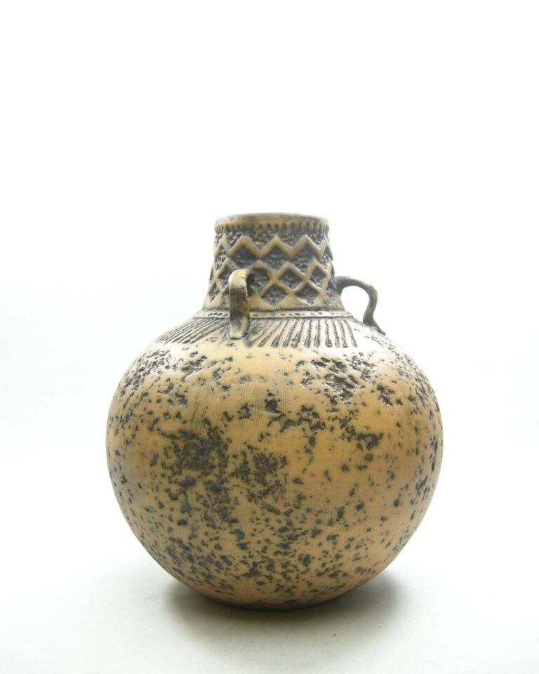 1554 – Vintage vaas West Germany Jasba Keramik 153-23 bruin – zwart