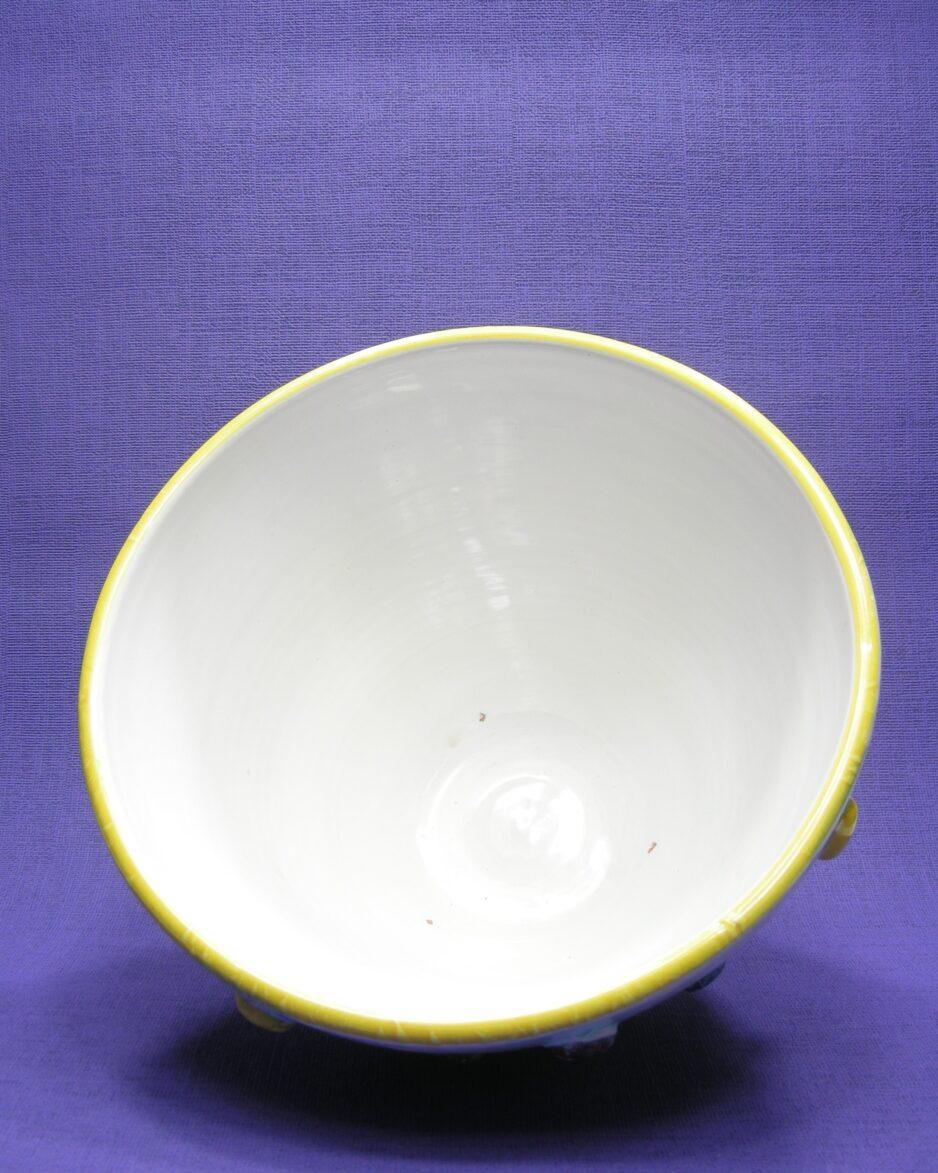 1561 - vintage bloempot Italy 2795 wit met gekleurde stippen