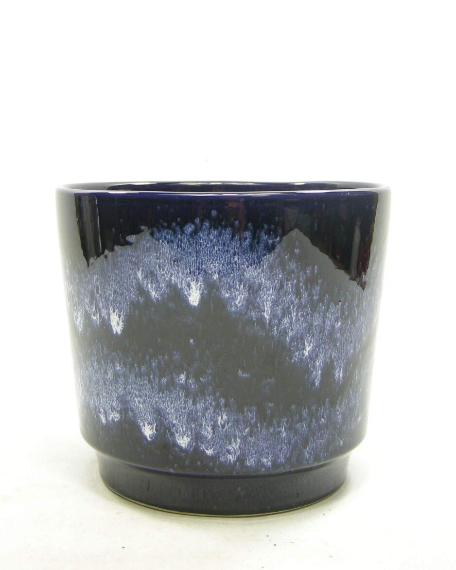 1572 - vintage bloempot WB 68012 blauw - wit