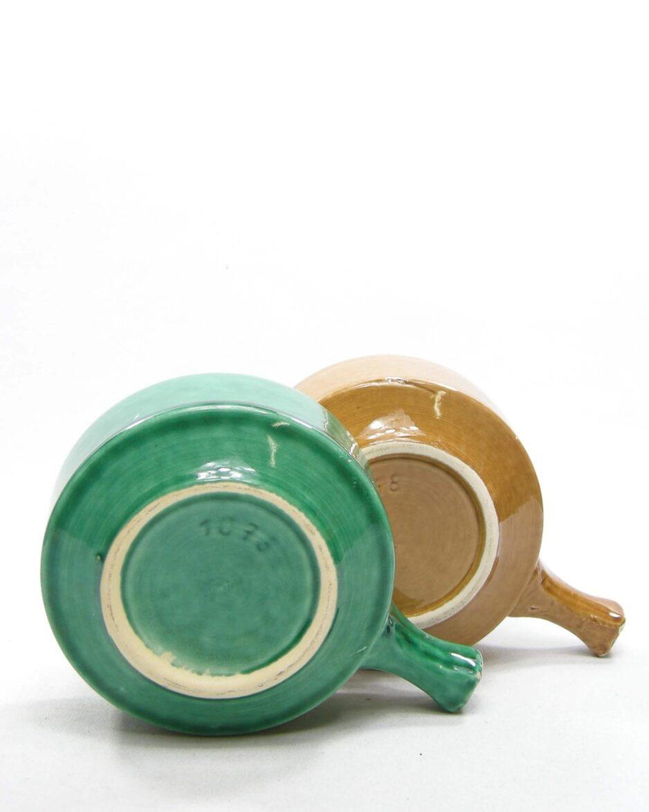 1576 - vintage soepkommen 1078 groen en bruin