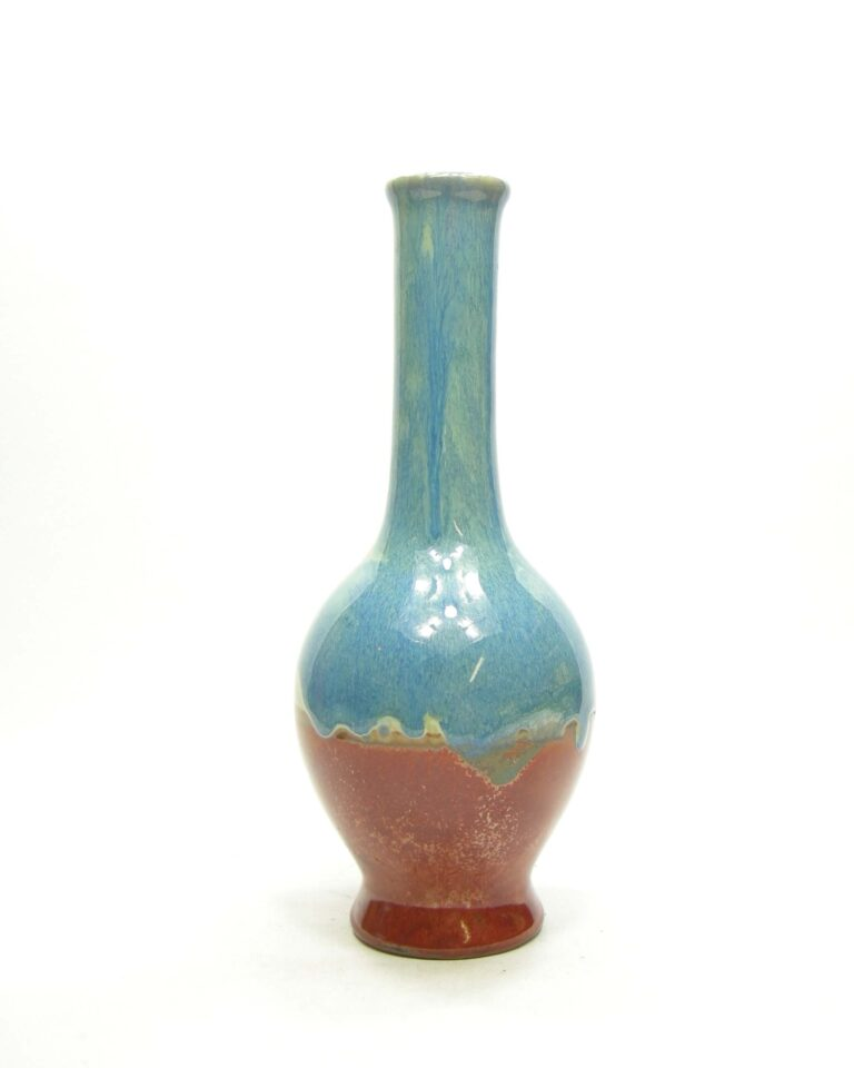 1588 – vintage vaas fles model bruin – blauw
