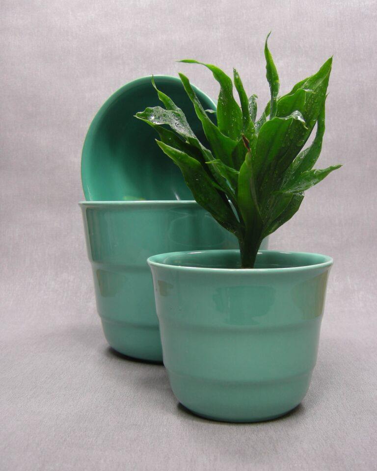 1600 – 1601 – 1602 – vintage bloempotten Frankton Tegelen groen