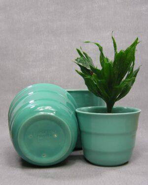 1600 - 1601 - 1602 - vintage bloempotten Frankton Tegelen groen