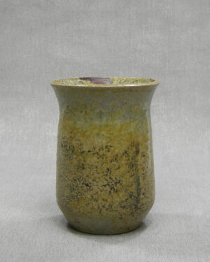 1622 – vintage bloempotje op stokjes blauw-bruin-zwart