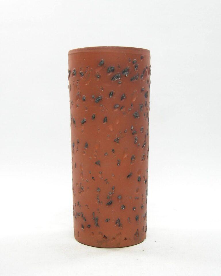 1628 – vintage vaas berkenbast cilinder bruin – zwart