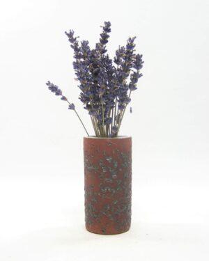 1629 - vintage vaasje berkenbast cilinder bruin-zwart