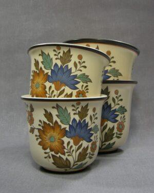1632 - 1633 - vintage bloempot Flora Gouda Plateel Holland Handwerk 13 en 16 bruin - beige- blauw - groen - zwart - oranje