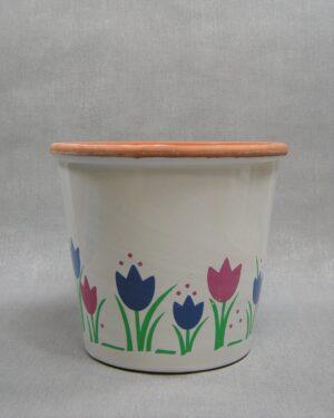 1644 - vintage bloempot tulpen wit-blauw-groen-roze-bruin