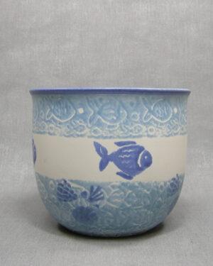 1647 - vintage bloempot West Germany Scheurich 818-17 wit-blauw