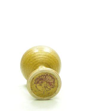 1659 – vintage bloempotje op voet bruin-oker