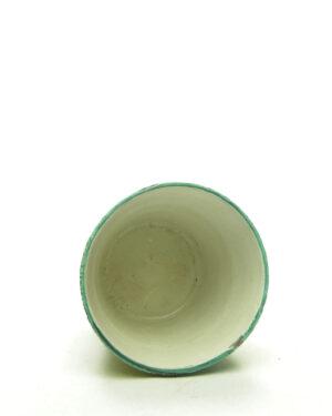 1660 – vintage bloempotje Italy wit – groen – geel – zwart