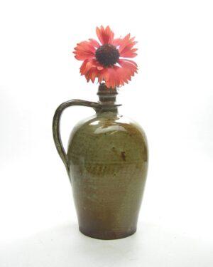 1664 - vintage vaas kruikmodel bruin - groen