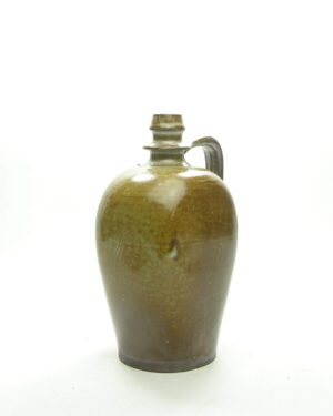 1664 – vintage vaas kruikmodel bruin – groen