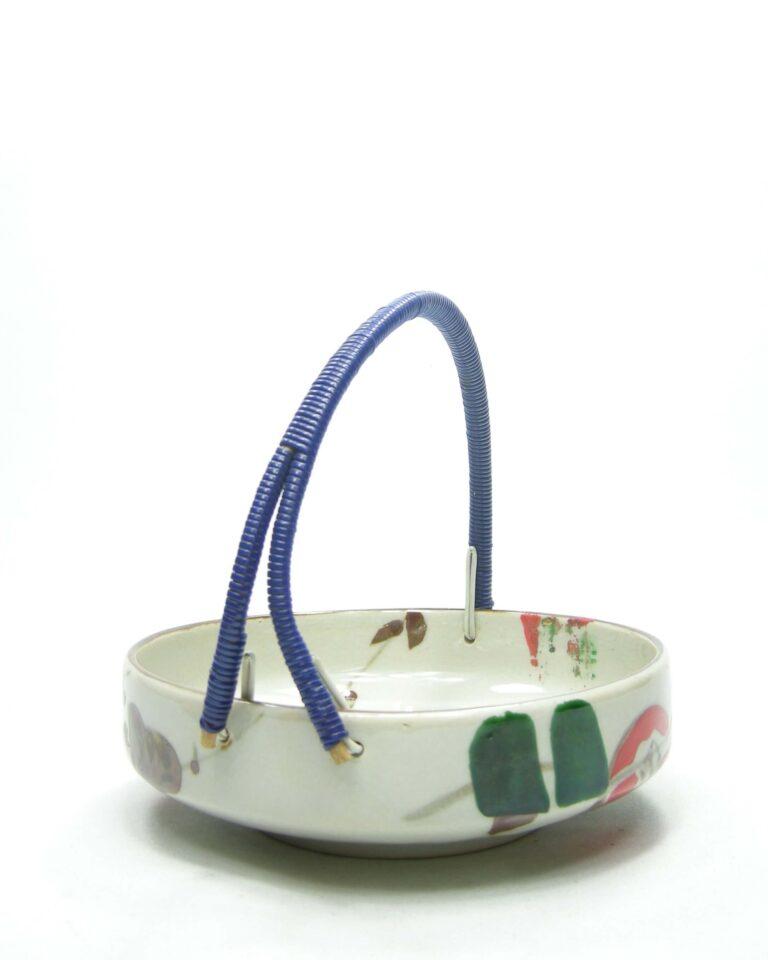 1675 – bonbonschaaltje NIKO Japan hand painted bruin – beige – groen – rood – blauw