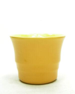 1678 – vintage bloempot ADCO 21112 op stokjes gebakken geel (2)