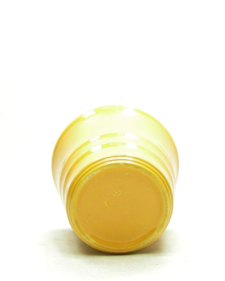 1678 – vintage bloempot ADCO 21112 op stokjes gebakken geel (4)