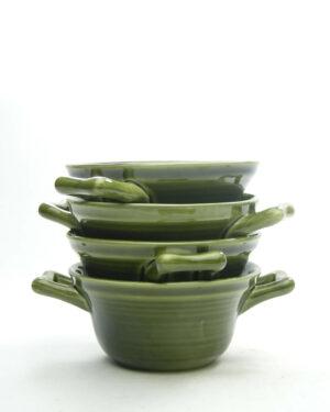 1691 – Vintage soepkommen met oren groen