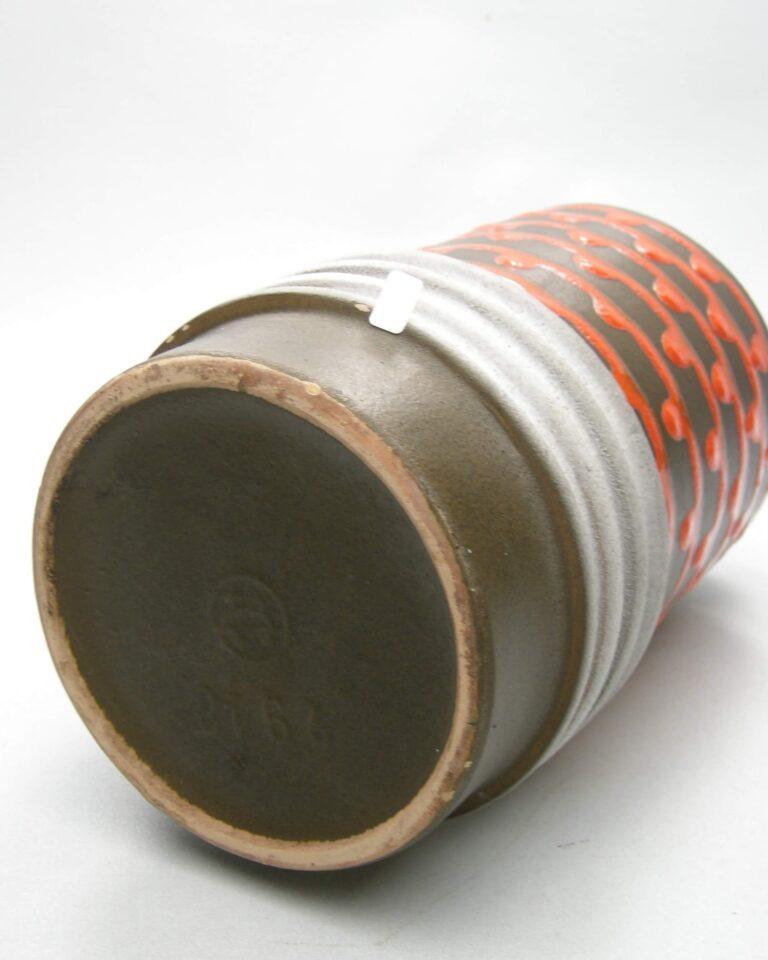 1692 – vintage vaas Veb Haldensleben 2918 bruin oranje