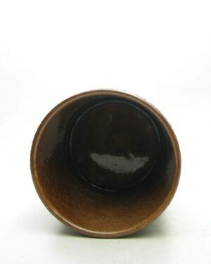1694 – vintage bloempot krater glazuur bruin