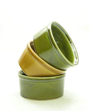 1697 - vintage snack schaaltjes groen en bruin
