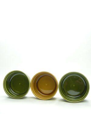 1697 – vintage snack schaaltjes groen en bruin